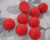 24 pcs. vintage fluted ridged coral red plastic cabochons 12mm - f2962