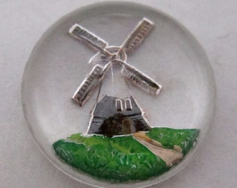 2 pcs.. vintage glass reverse painted intaglio windmill cabochons 13mm - f4321