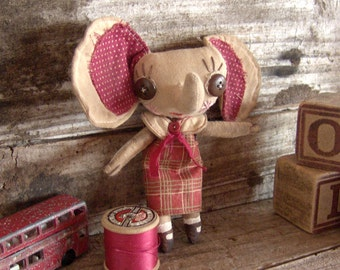 Small Elephant Cloth Doll, Primitive Style, Gifts For Doll Collectors, Childrens Room, Shelf Display