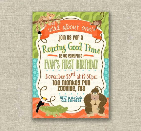 Wild Zoo 1st First Birthday Boy Invitation Jungle By