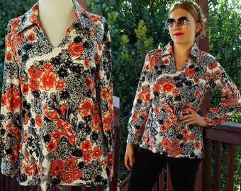 Orange POPPIES 1970's Vintage Black White and Orange Floral Polyester Shirt // by SEARS // size Medium