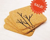 SALE - Branch and Blossom Cork Coaster Set