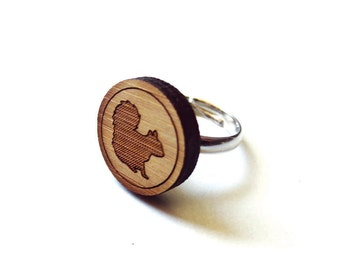 Smart Squirrel Ring. Squirrel Ring. Wood Ring. Gifts Under 20. Adjustable Ring. Laser Cut Ring. Gift For Her. Girlfriend Gift. Chipmunk Ring