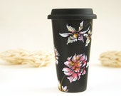 Black Ceramic Eco-Friendly Travel Mug - Orchids and Wild Flowers - made to order