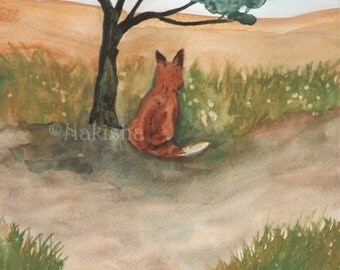 Original Art - The Seven of Foxes - Watercolor Fox Painting -The Badgers Forest Tarot