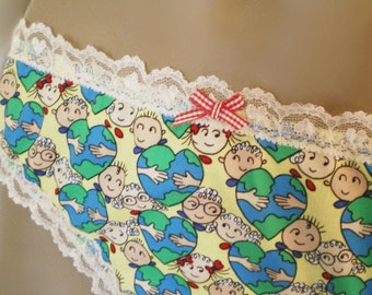 Cute Cotton Eco Print Panties Hug The World Yellow Green And Blue Handmade Knickers Custom Sizes Made To Order