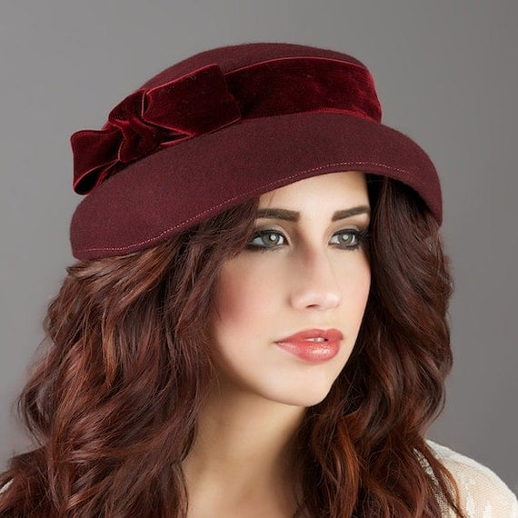 Hat - Womens Wool Hat - Burgundy Wool 1940s Old Hollywood style Hat