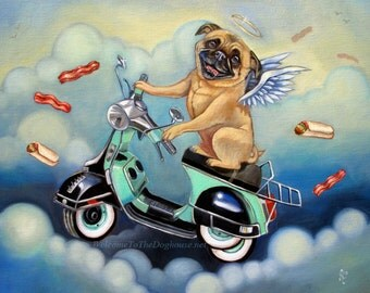 Pug riding Scooter Art Prints
