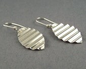 Earrings Sterling Silver  Corrugated Leaf Dangle