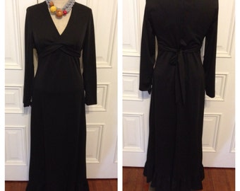 Vintage 70s black long maxi dress
