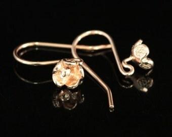 KZ-197 thai karen hill tribe handmade 24k rose gold vermeil ower silver pair wild flower earring hook