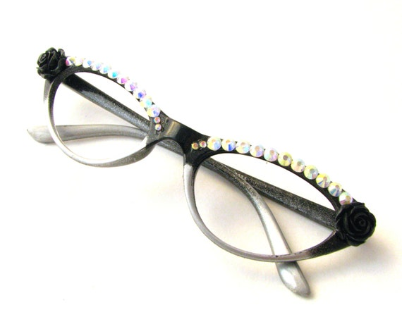 black silver rhinestone roses cat eye frames novelty