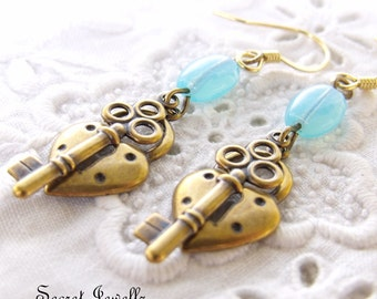 Brass Lock and Key Earrings With Pastel Clear Blue Beads, Key To My Heart, Antique Brass Earrings, Boho, Gypsy Earrings