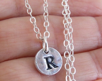 Silver Initial Necklace, Recyled Silver, Fine Silver Personalized Jewelry, Unisex, PMC,  Initial Pendant, Sterling Silver