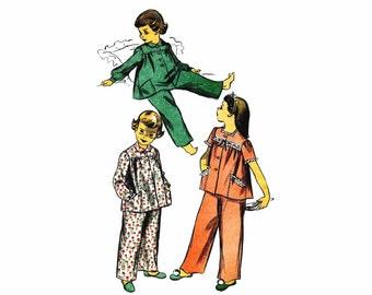 1940s Girls Pajamas Advance 4180 Vintage Sewing Pattern Childrens Sleepwear Two Piece Pajama Top Pants Bottoms Size 6