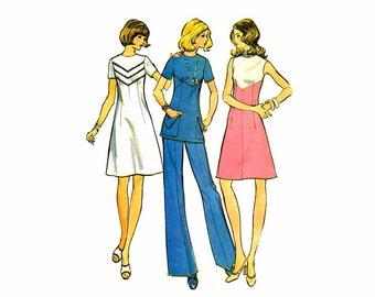 1970s Womens Dress Tunic Pants McCalls 3556 Vintage Sewing Pattern Misses Size 12 Bust 34 UNCUT