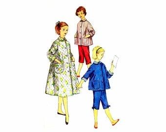 1950s Girls Housecoat Pajamas Simplicity 1441 Vintage Sewing Pattern Pajama Top Pants Robe Sleepwear Size 14 UNCUT