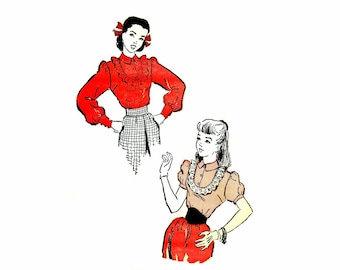 1940s Teen Girls Ruffled Blouse Advance 4461 Vintage Sewing Pattern Long or Short Sleeve Blouse Size 14 Bust 31 1/2