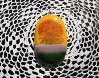 Handpainted Orange Lilies On Yellow Lavender Green Fused Glass Pendant
