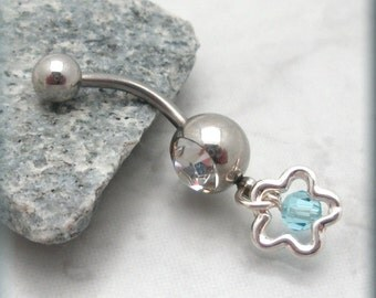 Flower Belly Ring Navel Piercing Body Jewelry Aquamarine Crystal (BR123)