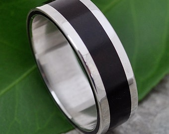 Size 7.5 READY TO SHIP Lados Coyol Wood Ring - ecofriendly wedding ring recycled sterling silver, mens wood wedding ring, wood band