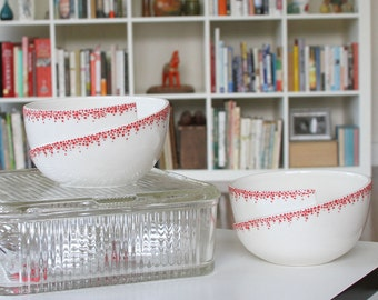 MOVING SALE Pottery Bowl Modern Ceramic Bowl White with Red