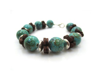 Bohemian Bracelet, Turquoise Bracelet, Blue Bracelet, Beaded Bracelet, Womens Bracelet, Stackable Bracelet, Earthtone Bracelet, TUSCANY