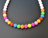 Rainbow Silicone bead necklace with bonus, FREE SHIPPING--limited edition, water proof, rubber, food grade, baby, mother
