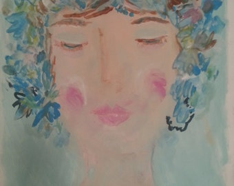 """Original acrylic painting on art paper, """"Flower Girl"""", beautiful colors, ethereal, pretty"""