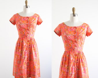 Vintage 1960's Pink and Orange Print Dress