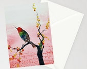 Greeting Card - WARM REFLECTION - hummingbird watercolor art card by Oladesign Made in Canada on recycled paper with envelope blank inside