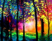 Commission landscape custom original oil painting trees by Aja Autumn Eve HUGE 40x60 inches