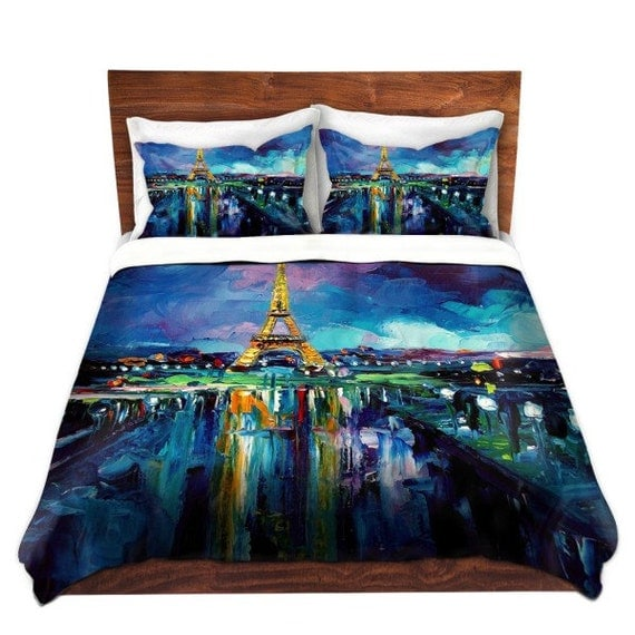 items similar to eiffel tower paris duvet cover pillow shams bedding set king queen. Black Bedroom Furniture Sets. Home Design Ideas