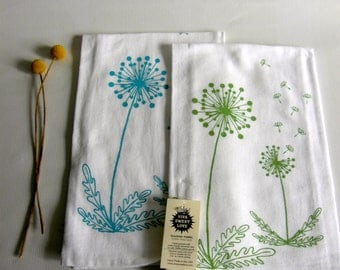 Dandelions Dish Towel Set of 2, Botanical Tea Towels,  Hand Printed Cotton Flour Sack Dish Towel, Hostess Gift,Turquoise, Yellow, Green