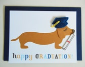 Happy Graduation BBQ the Dachshund Blue Grad Cap Diploma with Felt Applique Note Card with Envelope