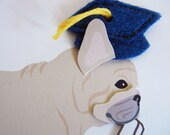 Happy Graduation Nuri the French Bulldog Blue Grad Cap Diploma with Felt Applique Note Card with Envelope