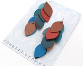 Medium Length Bronze, Blue and Rose Leather Cascade Earrings