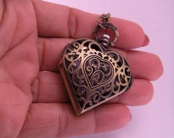 Brass Heart Quartz Pocket Watch with 28 Inch Brass Chain