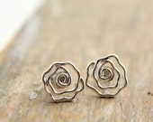 Silver Rose Post Earrings