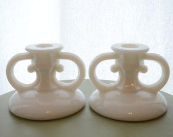 Vintage Milk Glass Candle Holders