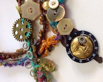Steampunk Jewelry Goddess necklace, wrap bracelet  watch parts Boho vintage watch parts , lace and trims  handmade  ooak artisan jewelry