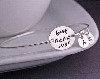 Nana Jewelry, Mother's Day Gift for Nana, Best Nana Ever Bracelet, Sterling Silver Hand Stamped Bangle Bracelet