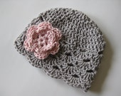 Crochet Baby Hat, Baby Girl Hat, Newborn Beanie, Baby Newborn Hat, Baby Girl Beanie, Ready to Ship, Grey Pink, Baby Girl, Newborn Baby Hat