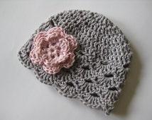 Crochet Baby Hat, Baby Girl Hat, Newborn Beanie, Baby Newborn Hat, Baby Girl Beanie, Ready to Ship, Grey Pink, Baby Girl, Newborn Baby Hat