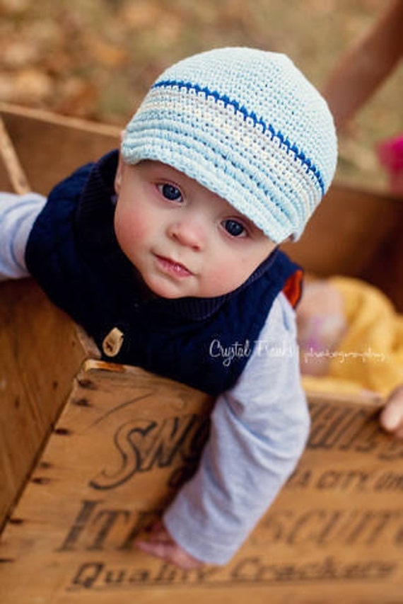 Crochet Baby Hat, Baby Boy Hat, Newsboy Hat, Baby Newborn Hat, Baby Boy, Blue Grey Off-White, Newborn Hat, Newborn Baby Hat, Crochet Hat