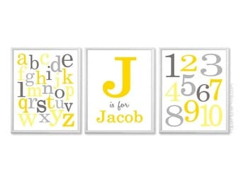Gray and Yellow Nursery Decor, Playroom Art Alphabet and Numbers Kids Wall Art, Personalized Nursery Prints, Monogram With Name, 8x10, 11x14