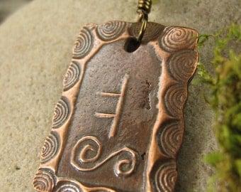 Oak Tree Ogham, Connemara Marble, Celtic Tree Astrology, Ogham, Celtic Jewelry, Copper Pendant, Irish Jewelry, Oak Necklace, Copper Oak Tree