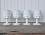 Vintage Milk Glass Thumbprint Goblets Set of 4