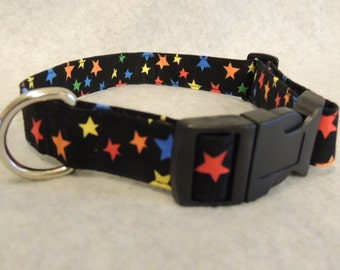 """Large Dog Collar 1"""" Wide 16-20"""" Colored Stars"""