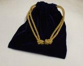 Re-usable -Blue Velvet Gift Bag - 6x6 inches - Drawstring